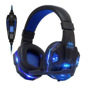 Headset Pro Gaming Gears c/LED Azul PC PS4 XBOX Celular KP-397 Knup