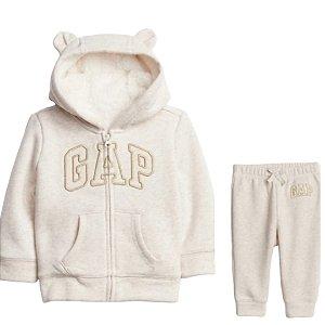 Conjunto moletom - Gap off white com logo aplique em dourado ( Disponível 18 a 24 meses)