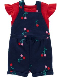 Jardineira cereja - Carter`s  (vem com 2 peças a camiseta + jardineira)