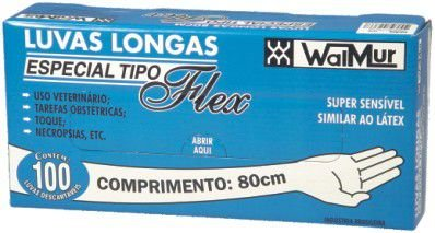 LUVAS PLÁSTICAS P/ PALPAÇÃO 5 DEDOS 80CM (CX 100 UNIDS) WALMUR