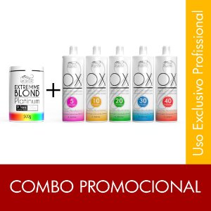 Combo Pó Descolorante 9 Tons 500g + 5 OX 900ml (5, 10, 20, 30 ,40vol.)