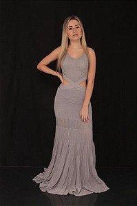 Vestido de tricô longo com lurex