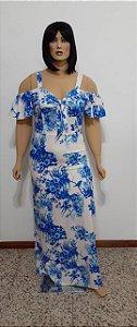 Vestido tecido plano longo estampado