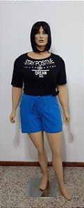 Shorts com bolsos frente, elástico e ajustador na cintura
