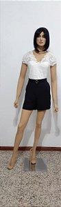 Shorts tecido plano curto fivela