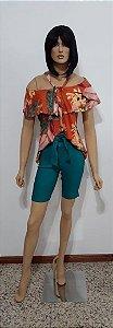 Blusa estampada tuniquete ciganinha
