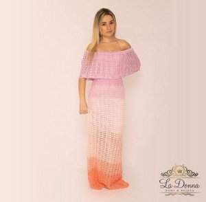 Vestido longo ciganinha de crochê tie dye