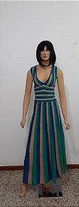 vestido de tricô longo plissado com lurex