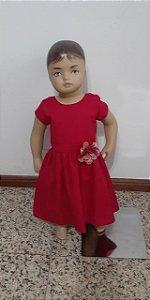 Vestido tecido plano com broche florzinha aplicada