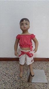 Conjunto shorts com faixa lacinho e blusa cropped com lacinho na cintura