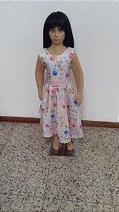 Vestido de festa tecido plano estampa floral com faixa brilho, laço atrás
