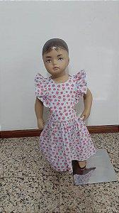 Vestido  malu florido com babados manga e botão atrás