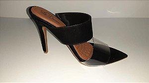 Sandália Preta salto 8cm com detalhe transparente