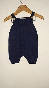 Jardineira crochê trança bordada com botões
