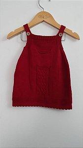 Vestido crochê bolso e bordado trança