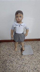 Conjunto body branco manga 3/4  e shorts xadrez