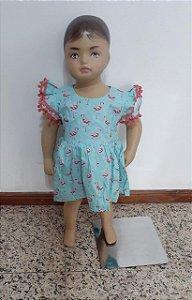 Body vestido estampado com pompom