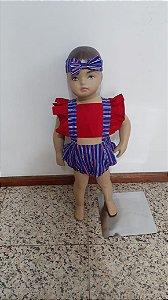 Romper vazado com shorts babado duplo