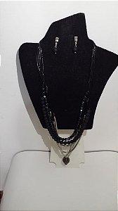 Conjunto colar e brinco prata com preto