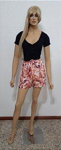 Shorts estampado com bolso frente e traseiro e faixa na cintura
