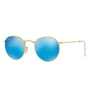 óculos de sol round metal polarizado azul espelhado