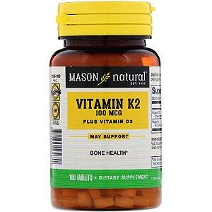 Vitamina K2 100 Mcg + Vitamina D3 1.000 Mason 100 Tablets Importada EUA
