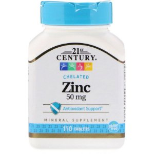 Zinco Quelado 50 Mg 21 Century 110 Comprimidos - Importado EUA