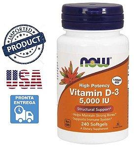 Vitamina D3 Now Foods 5000 ui Importada EUA 240 Cápsulas
