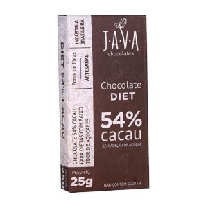 Kit Chocolate Java Vegano 54% Cacau Diet - 3 tabletes de 25g cada