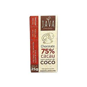 Kit Chocolate com Açúcar de Coco Java Vegano 75% Cacau - 3 tabletes de 25g cada
