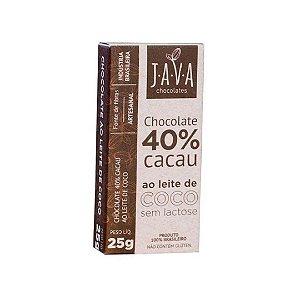 Kit Chocolate ao Leite de Coco 40% Cacau Java Vegano - 3 tabletes de 25g cada