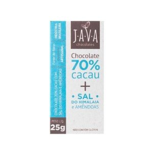 Kit Chocolate Java Vegano 70% Cacau + Sal do Himalaia  - 3 tabletes de 25g cada