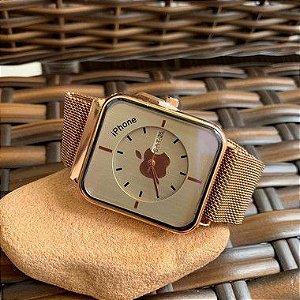 Relógio Iphone - Dourado e Branco
