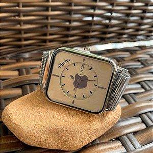 Relógio Iphone - Prata e Branco