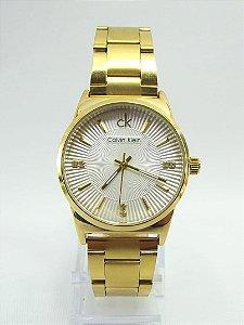 Calvin Klein Fundo Cravado Dourado e Branco