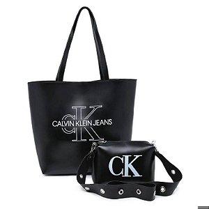 Bolsa Ck grande + bolsa pequena de BRINDE - Preta
