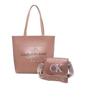 Bolsa Ck grande + bolsa pequena de BRINDE - Rose