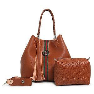 Bolsa Gucci grande + bolsa pequena de BRINDE – Marrom