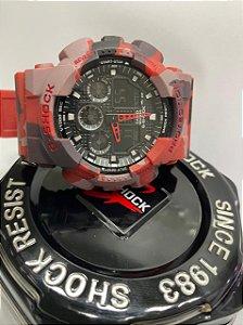 G-shock Automático Camuflado Vermelho + vedação a prova d'água grátis