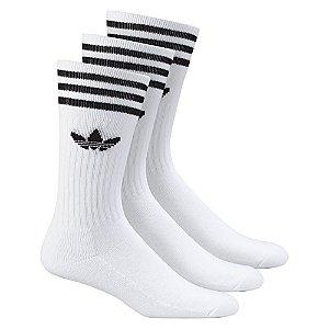 Meia Solid Crew Sock Branca Cano Alto