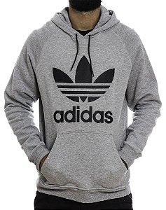 Blusa Moletom Trefoil Adidas Hoody Cinza