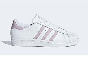 Tenis Adidas Superstar Branco com Lilas