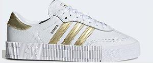 Tenis Adidas Sambarose W Branco com Dourado