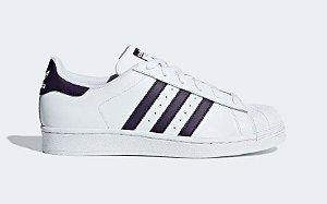 Tenis Adidas Superstar Branco com Roxo