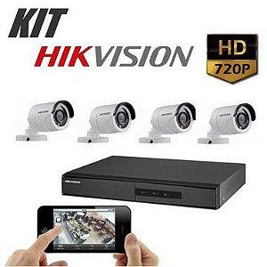 Kit DVR 720p 4 Canais + HD WD Purple 1TB + Acessórios + 4 Câmera IR 20m 2.8mm 720p 1MP HIKVISION
