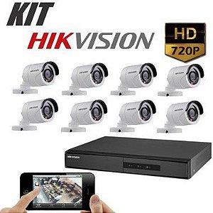 Kit DVR 720p 8 Canais + HD WD Purple 1TB + Acessórios + 8 Câmera IR 20m 3.6mm 720p 1MP HIKVISION