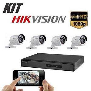 Kit DVR 1080p 4 Canais + HD WD Purple 1TB + Acessórios + 4 Câmera IR 20m 3.6mm 1080p 2MP HIKVISION