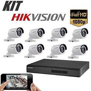 Kit DVR 1080p 8 Canais + HD WD Purple 1TB + Acessórios + 8 Câmera IR 20m 2.8mm 1080p 2MP HIKVISION
