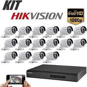 Kit DVR 1080p 16 Canais + HD WD Purple 1TB + Acessórios + 16 Câmera IR 20m 3.6mm 1080p 2MP HIKVISION