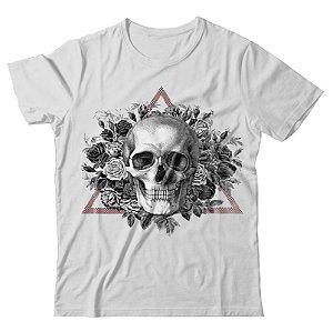 Camiseta Caveira Com Flores E Triangulo